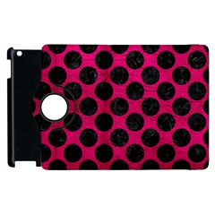 Circles2 Black Marble & Pink Leather Apple Ipad 2 Flip 360 Case by trendistuff