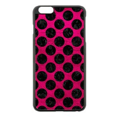 Circles2 Black Marble & Pink Leather Apple Iphone 6 Plus/6s Plus Black Enamel Case by trendistuff