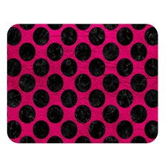Circles2 Black Marble & Pink Leather Double Sided Flano Blanket (large)  by trendistuff