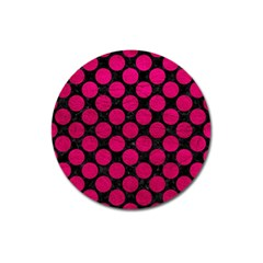 Circles2 Black Marble & Pink Leather (r) Magnet 3  (round) by trendistuff