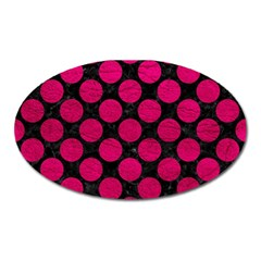 Circles2 Black Marble & Pink Leather (r) Oval Magnet by trendistuff