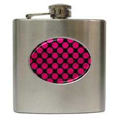 Circles2 Black Marble & Pink Leather (r) Hip Flask (6 Oz) by trendistuff