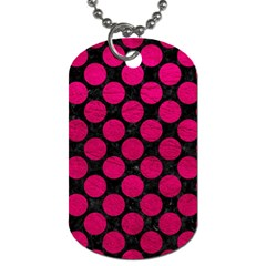 Circles2 Black Marble & Pink Leather (r) Dog Tag (two Sides) by trendistuff