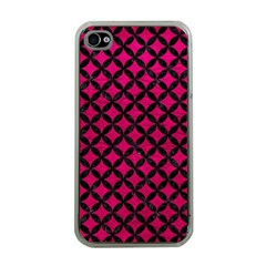 Circles3 Black Marble & Pink Leather Apple Iphone 4 Case (clear) by trendistuff