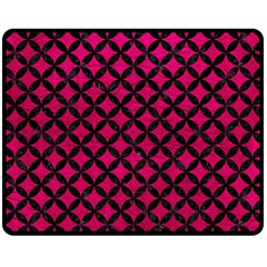 Circles3 Black Marble & Pink Leather Double Sided Fleece Blanket (medium)