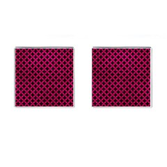 Circles3 Black Marble & Pink Leather (r) Cufflinks (square) by trendistuff