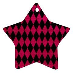 Diamond1 Black Marble & Pink Leather Star Ornament (two Sides) by trendistuff