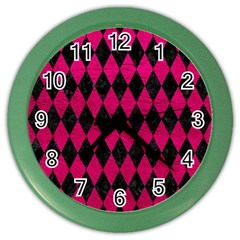 Diamond1 Black Marble & Pink Leather Color Wall Clocks