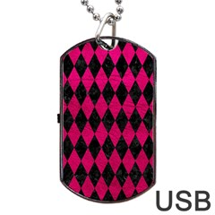 Diamond1 Black Marble & Pink Leather Dog Tag Usb Flash (two Sides) by trendistuff