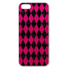 Diamond1 Black Marble & Pink Leather Apple Seamless Iphone 5 Case (clear) by trendistuff
