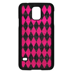 Diamond1 Black Marble & Pink Leather Samsung Galaxy S5 Case (black) by trendistuff