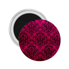 Damask1 Black Marble & Pink Leather 2 25  Magnets by trendistuff