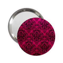 Damask1 Black Marble & Pink Leather 2 25  Handbag Mirrors by trendistuff