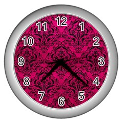 Damask1 Black Marble & Pink Leather Wall Clocks (silver)  by trendistuff