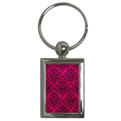 Damask1 Black Marble & Pink Leather Key Chains (rectangle)  by trendistuff