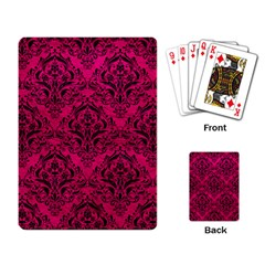Damask1 Black Marble & Pink Leather Playing Card by trendistuff