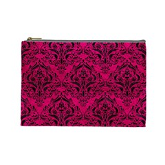 Damask1 Black Marble & Pink Leather Cosmetic Bag (large)