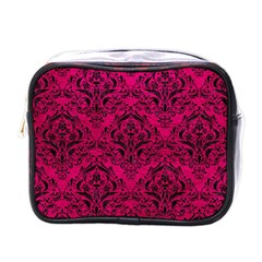 Damask1 Black Marble & Pink Leather Mini Toiletries Bags by trendistuff