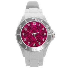 Damask1 Black Marble & Pink Leather Round Plastic Sport Watch (l) by trendistuff