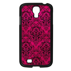 Damask1 Black Marble & Pink Leather Samsung Galaxy S4 I9500/ I9505 Case (black) by trendistuff