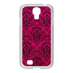 Damask1 Black Marble & Pink Leather Samsung Galaxy S4 I9500/ I9505 Case (white) by trendistuff
