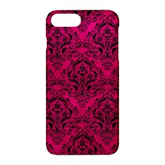 Damask1 Black Marble & Pink Leather Apple Iphone 7 Plus Hardshell Case by trendistuff