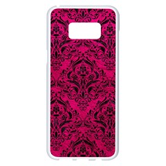 Damask1 Black Marble & Pink Leather Samsung Galaxy S8 Plus White Seamless Case by trendistuff