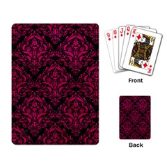 Damask1 Black Marble & Pink Leather (r) Playing Card by trendistuff