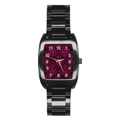 Damask1 Black Marble & Pink Leather (r) Stainless Steel Barrel Watch by trendistuff