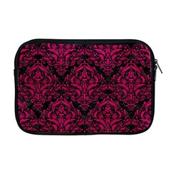 Damask1 Black Marble & Pink Leather (r) Apple Macbook Pro 17  Zipper Case by trendistuff