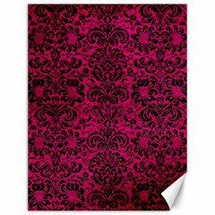 Damask2 Black Marble & Pink Leather Canvas 12  X 16   by trendistuff