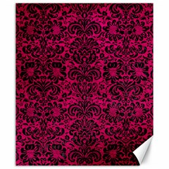 Damask2 Black Marble & Pink Leather Canvas 20  X 24   by trendistuff