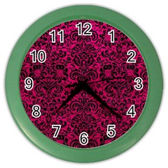 Damask2 Black Marble & Pink Leather Color Wall Clocks