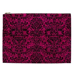 Damask2 Black Marble & Pink Leather Cosmetic Bag (xxl)  by trendistuff