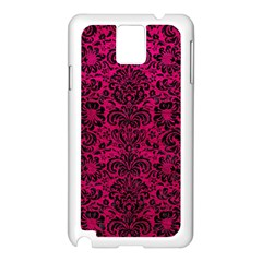 Damask2 Black Marble & Pink Leather Samsung Galaxy Note 3 N9005 Case (white) by trendistuff