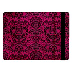 Damask2 Black Marble & Pink Leather Samsung Galaxy Tab Pro 12 2  Flip Case by trendistuff