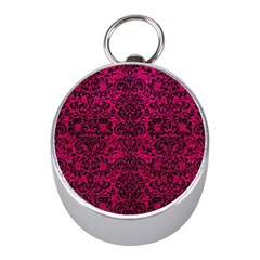 Damask2 Black Marble & Pink Leather Mini Silver Compasses by trendistuff