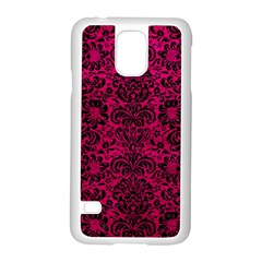 Damask2 Black Marble & Pink Leather Samsung Galaxy S5 Case (white) by trendistuff