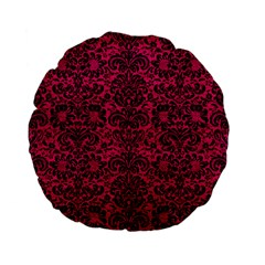 Damask2 Black Marble & Pink Leather Standard 15  Premium Flano Round Cushions by trendistuff
