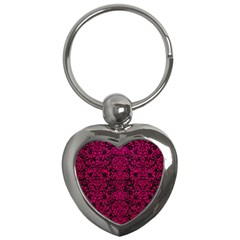 Damask2 Black Marble & Pink Leather (r) Key Chains (heart)  by trendistuff