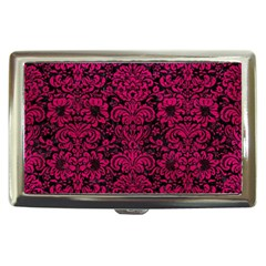 Damask2 Black Marble & Pink Leather (r) Cigarette Money Cases by trendistuff