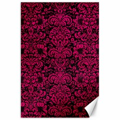 Damask2 Black Marble & Pink Leather (r) Canvas 20  X 30   by trendistuff