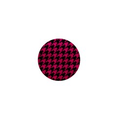Houndstooth1 Black Marble & Pink Leather 1  Mini Buttons by trendistuff