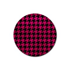 Houndstooth1 Black Marble & Pink Leather Rubber Round Coaster (4 Pack)  by trendistuff