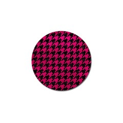 Houndstooth1 Black Marble & Pink Leather Golf Ball Marker (10 Pack) by trendistuff