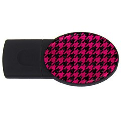 Houndstooth1 Black Marble & Pink Leather Usb Flash Drive Oval (4 Gb) by trendistuff