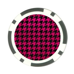 Houndstooth1 Black Marble & Pink Leather Poker Chip Card Guard by trendistuff