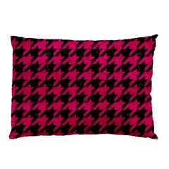 Houndstooth1 Black Marble & Pink Leather Pillow Case by trendistuff