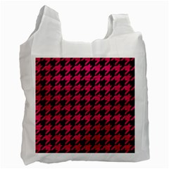 Houndstooth1 Black Marble & Pink Leather Recycle Bag (one Side) by trendistuff