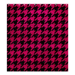 Houndstooth1 Black Marble & Pink Leather Shower Curtain 66  X 72  (large)  by trendistuff
